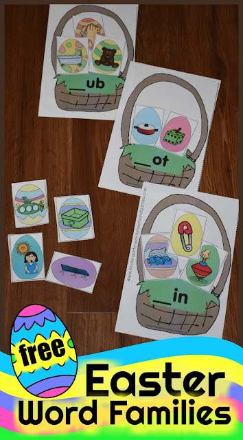 FREE Easter Eggs Word Families Activity - this free printable literacy activity is a great way for kids to practice skills needed to read #wordfamilies #easter #kindergarten