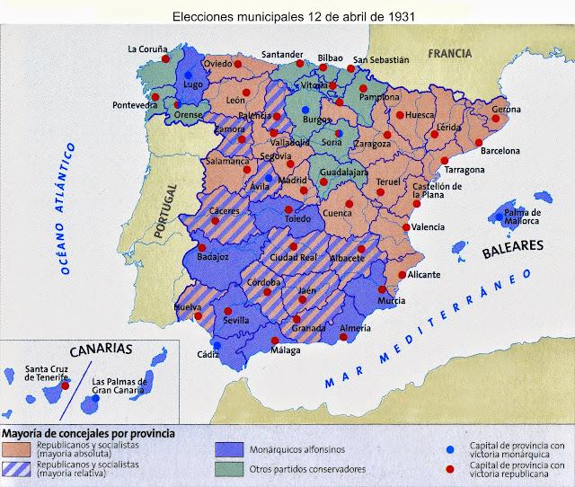 Resultado de imagen de mapa resultados elecciones municipales 1931