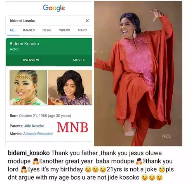 Don't Argue With My Age'- Actress Bidemi Kosoko Begs as She Celebrates 30th Birthday Today