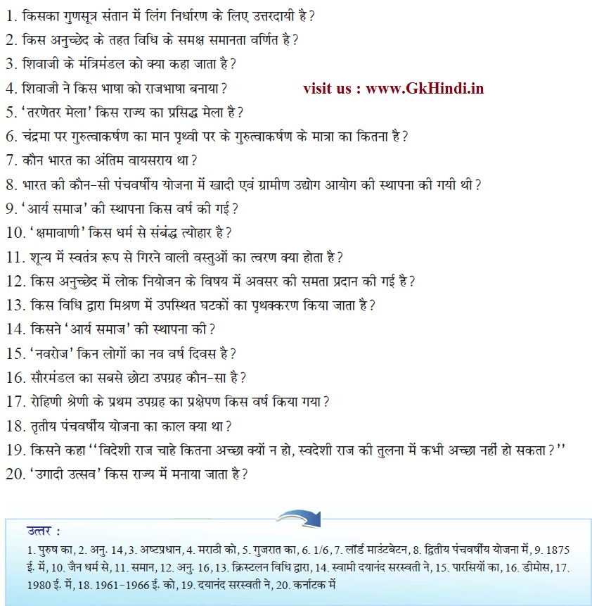 Questions pdf and general indian knowledge answers