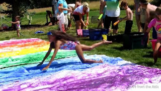 how to make a slip and slide with a tarp