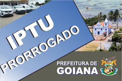 IPTU Prorrogado em Goiana