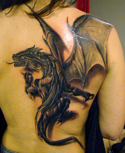 3D Tattoo On Upper Back
