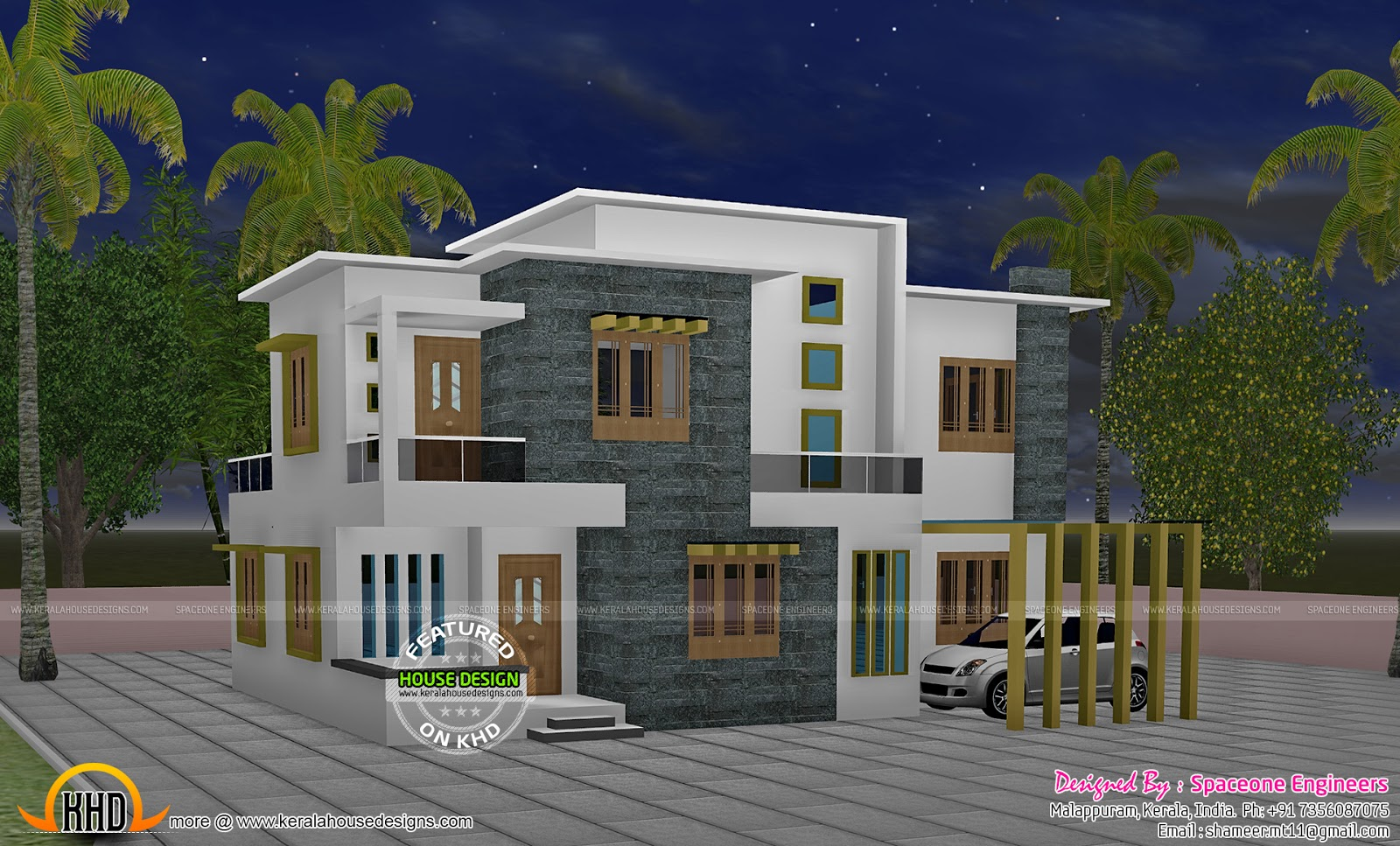 4 bedroom flat roof style house 2200 sq ft kerala home for Four bedroom kerala house plans
