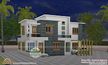 4 Bedroom Flat Roof Style House - 2200 Sq-ft Kerala Home