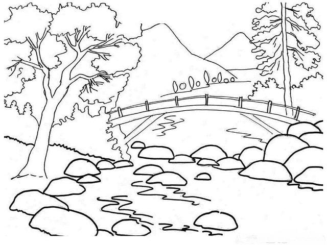 Sketsa Mewarnai Gambar Pemandangan Alam