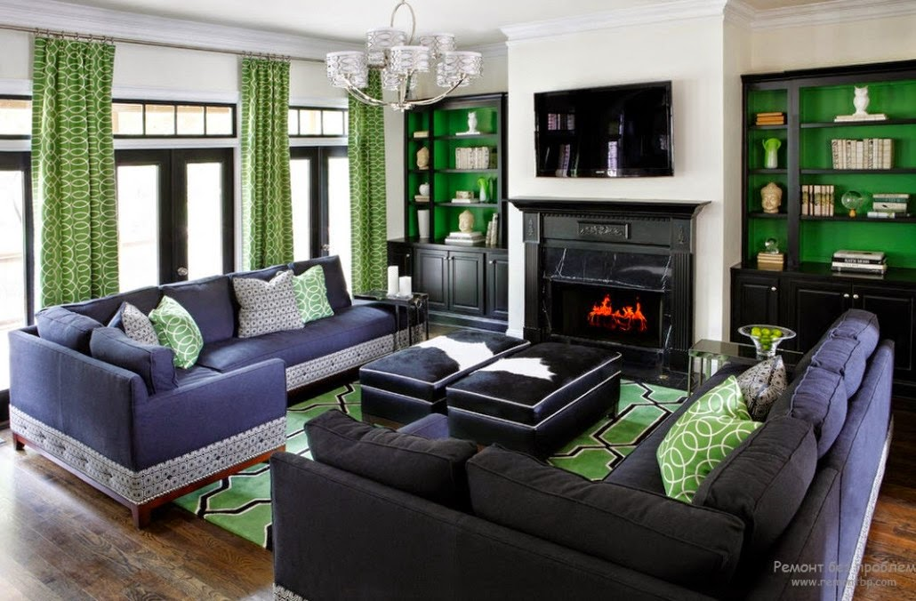 Green Living Room Curtains Combined With Gray Furniture