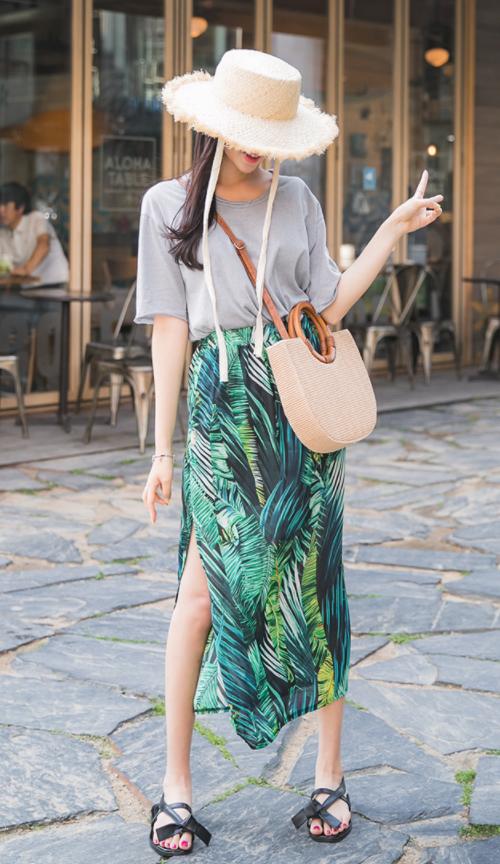 Leaf Print Slit Midaxi Skirt