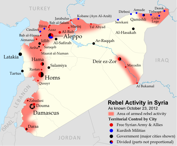 Map of rebel activity and control in Syria's Civil War (Free Syrian Army, Kurdish groups, and others), updated for October 2012