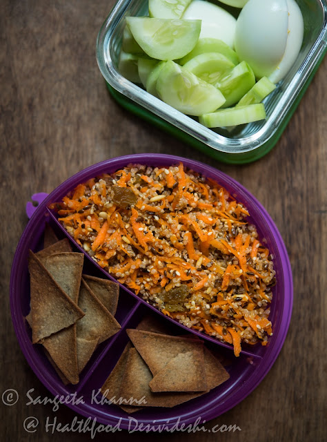 quinoa carrot salad in lunch box
