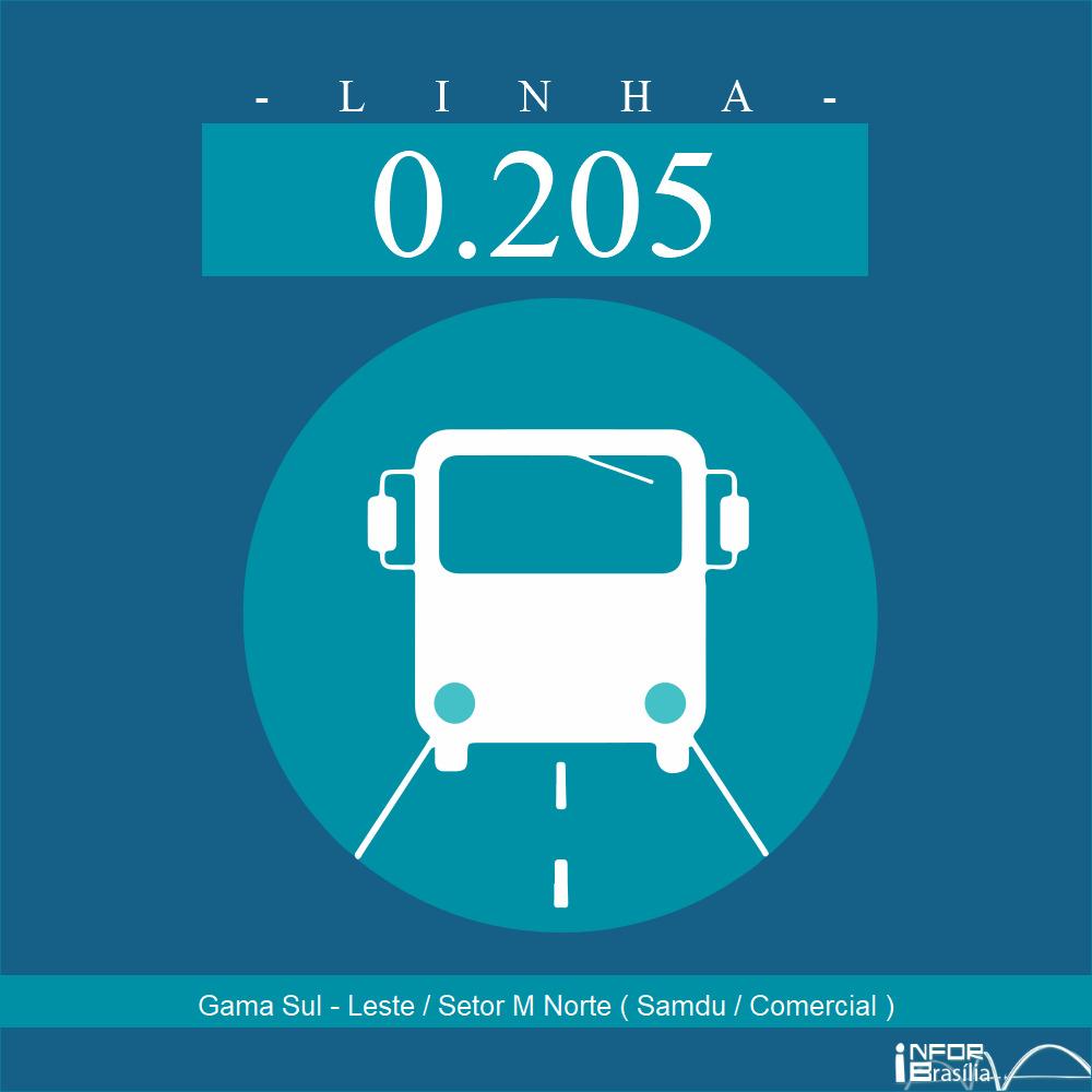 Horário de ônibus e itinerário 0.205 - Gama Sul - Leste / Setor M Norte ( Samdu / Comercial )