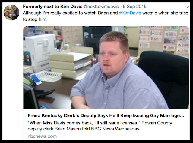 Rowan County Dept Clerk will issue the gays marriage licenses while Kim Davis has a meltdown