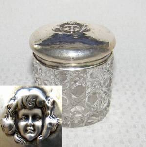 Silver Antique Solid Sterling Silver Glass Box Vanity