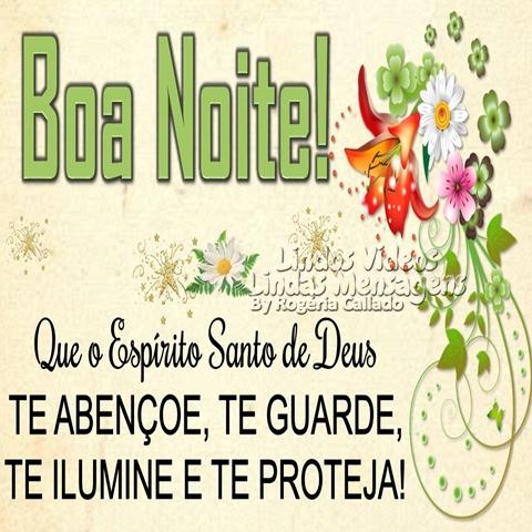 Boa Noite!  Que o Espírito Santo de Deus  TE ABENÇOE, TE GUARDE,  TE ILUMINE E TE PROTEJA!