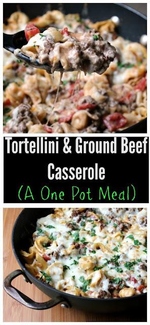 One Pot Tortellini and Ground Beef Casserole