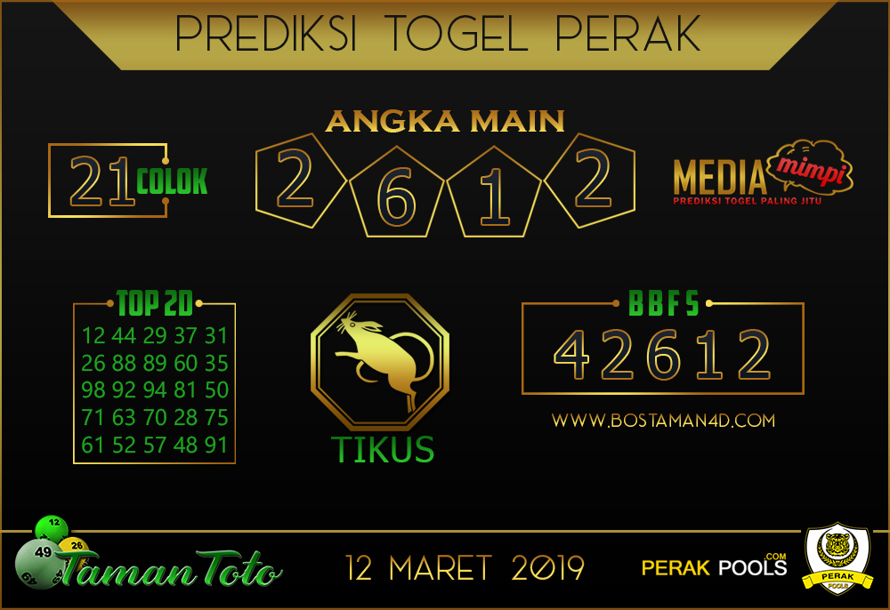 Prediksi Togel PERAK TAMAN TOTO 12 MARET 2019