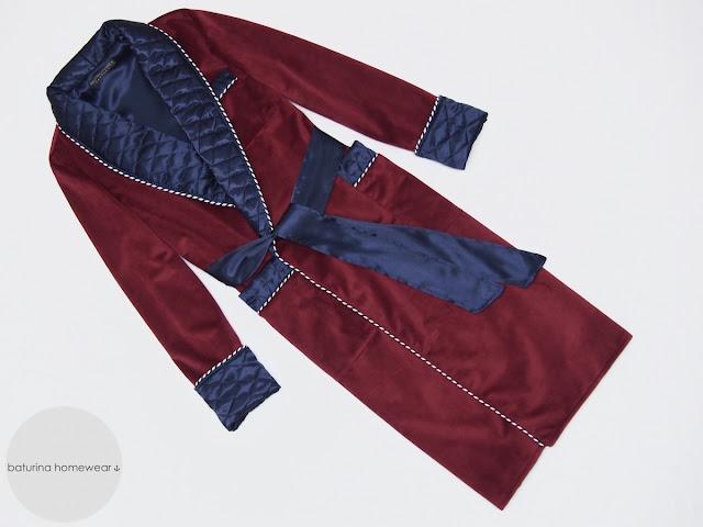 mens burgundy velvet dressing gown dark red luxury robe full length warm quilted dandy gentleman vintage