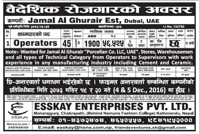 Jobs in Dubai for Nepali, Salary Rs 56,525