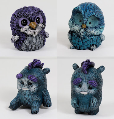 "New Owl & Monster Resin Figures by Vanessa Ramirez - ""Winter Blue"" Owen, ""Purple"" Tyton, Bernie & Benji"