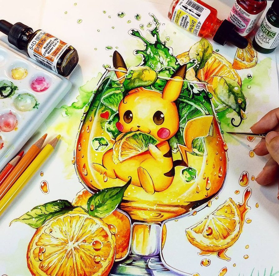 04-Fresh-Lemon-Pikachu-Nashi-Illustrations-that-Bring-out-Depth-of-Colour-in-Manga-Comics-www-designstack-co