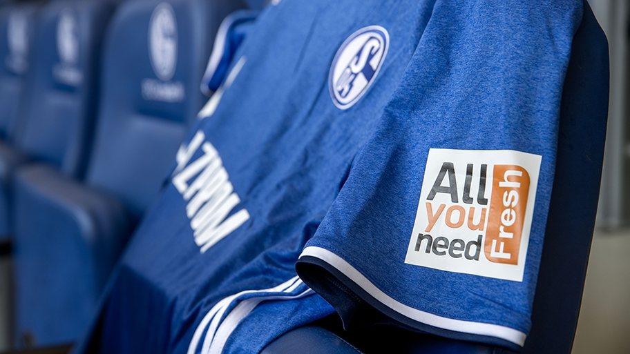 5aaba1d6a Schalke 04 AllyouneedFresh Sleeve Sponsorship. This image shows the  AllyouneedFresh logo on the sleeves of Schalke s 2016-2018 home kit.