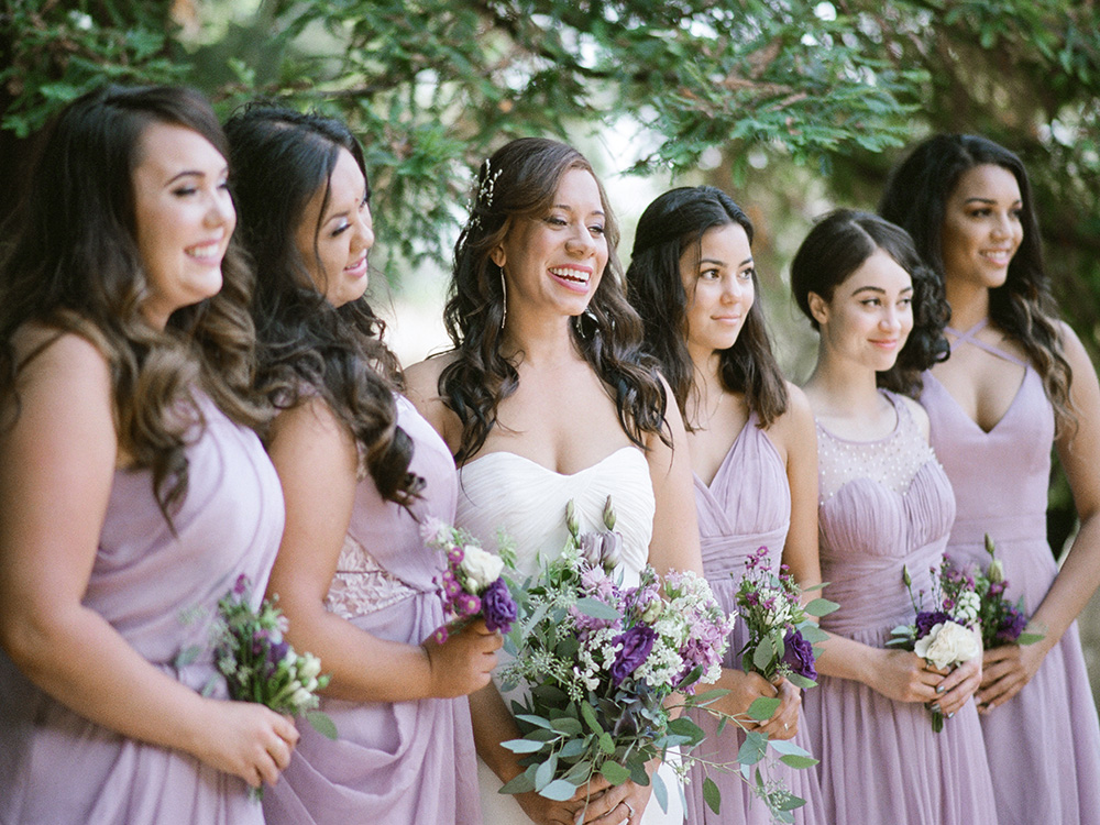 Bridesmaids in the open area of Hillside Community Church, El Cerrito, CA California