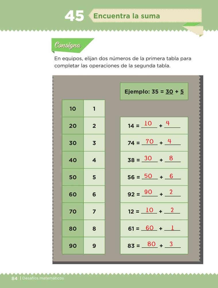 Libro de textoDesafíos MatemáticosEncuentra la sumaPrimer gradoContestado
