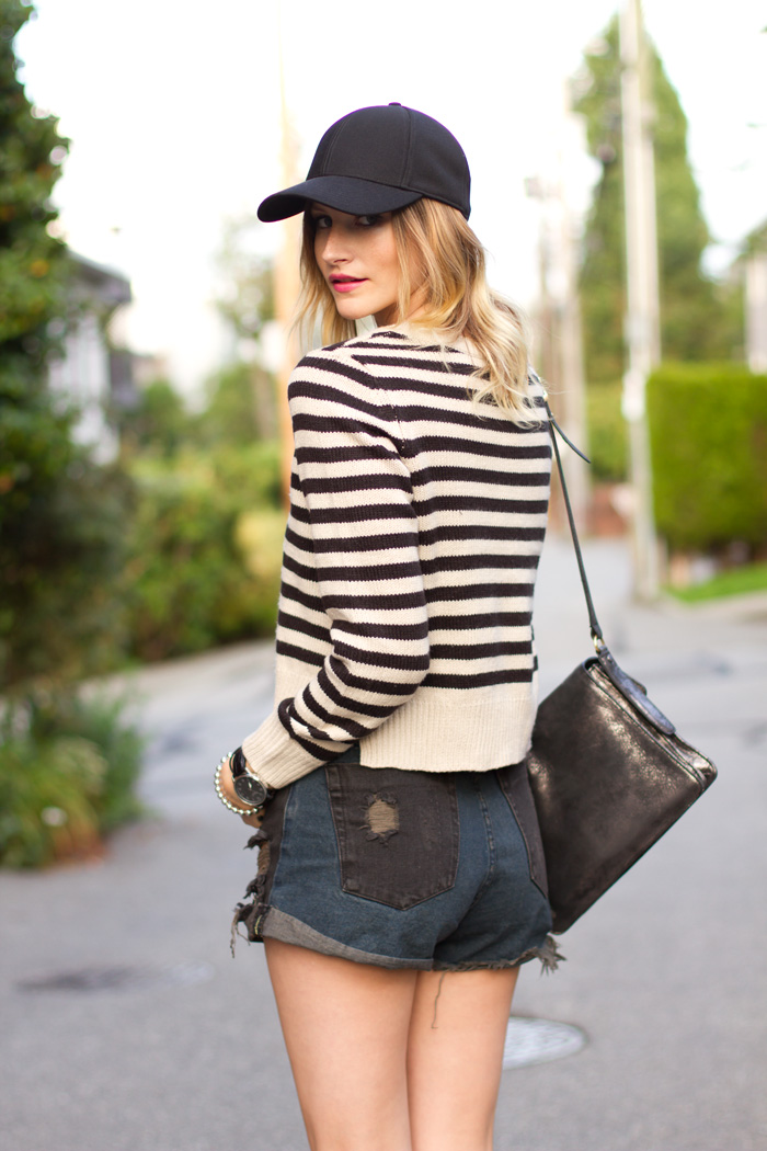 Vancouver Fashion Blogger, Alison Hutchinson, wearing H&M stripes cropped sweater, One Teaspoon Hawks shorts in black and blue, Topshop ankle boots, Aritzia baseball cap, Botkier Valentina Bag