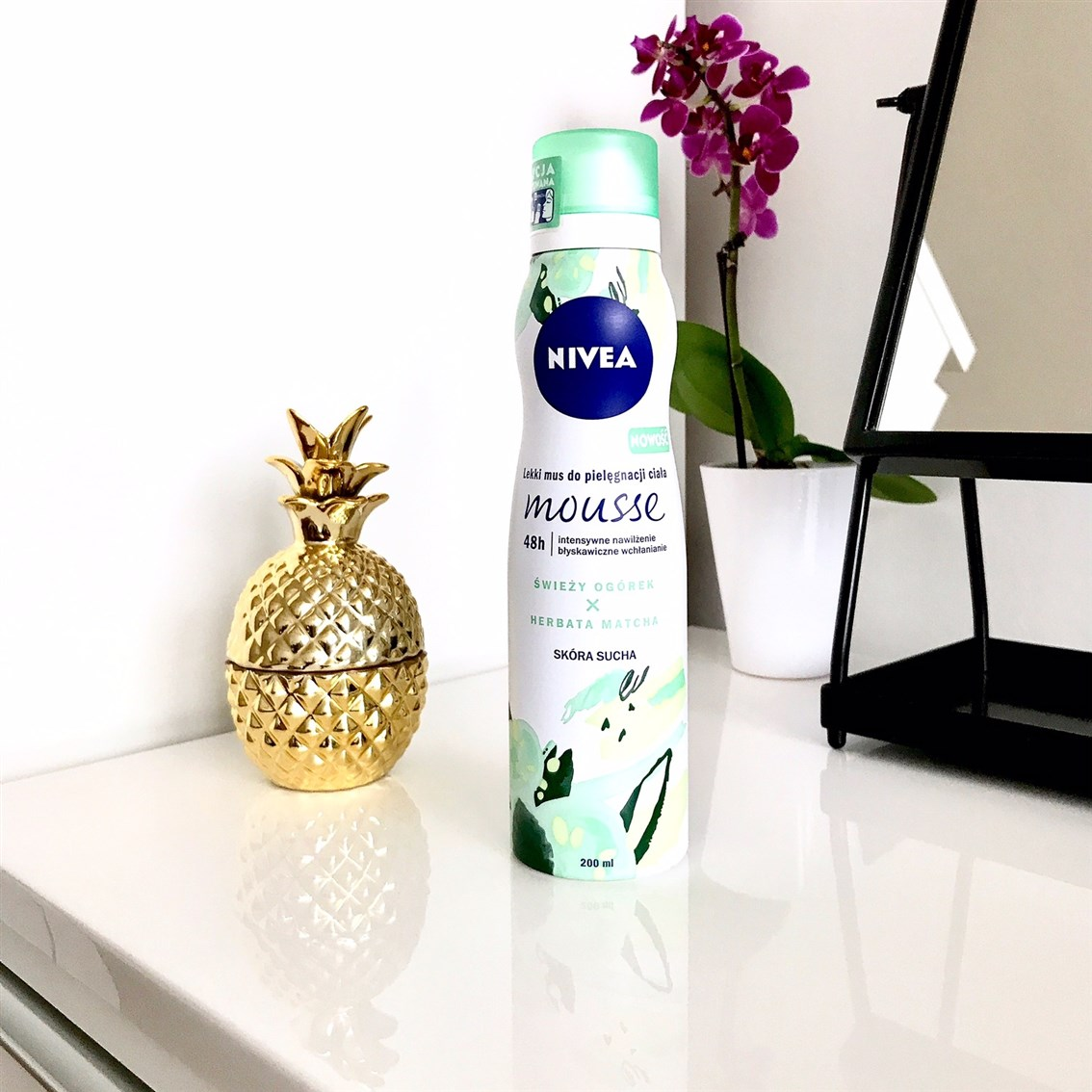 zdjęcie przedstawiające Nivea Lekki mus do pielęgnacji ciała Świeży Ogórek i Herbata Matcha