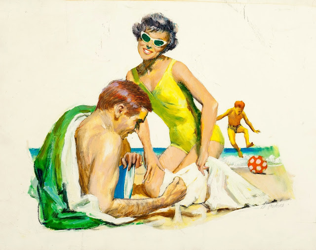 Bernard D'Andrea - Beach with the Family, magazine illustration, 1960s