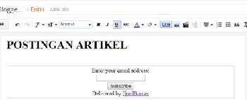contoh rss default dibawah halaman posting