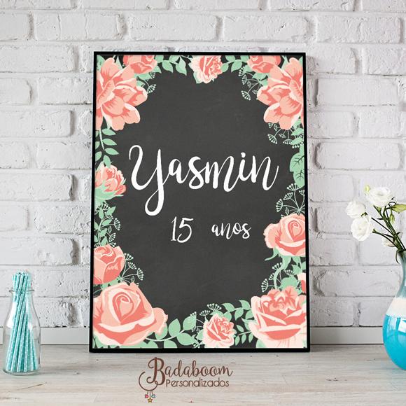 arte, digital chalkboard, quadro, negro, 15 anos, yasmin, floral, decoração, festa,