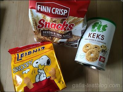 Finn Crisp Snacks Saaten & Meersalz, Hans Freitag Chia-Hanf-Kekse, Leibniz Snoopy