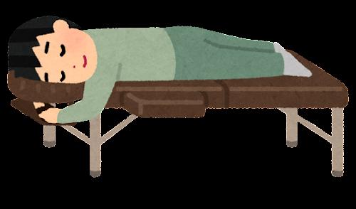 施術ベッドに寝る人のイラスト(男性)