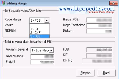 Ilustrasi 3 Pilihan Jenis Kode Harga Pada Pemberitahuan Impor Barang - Dipopedia