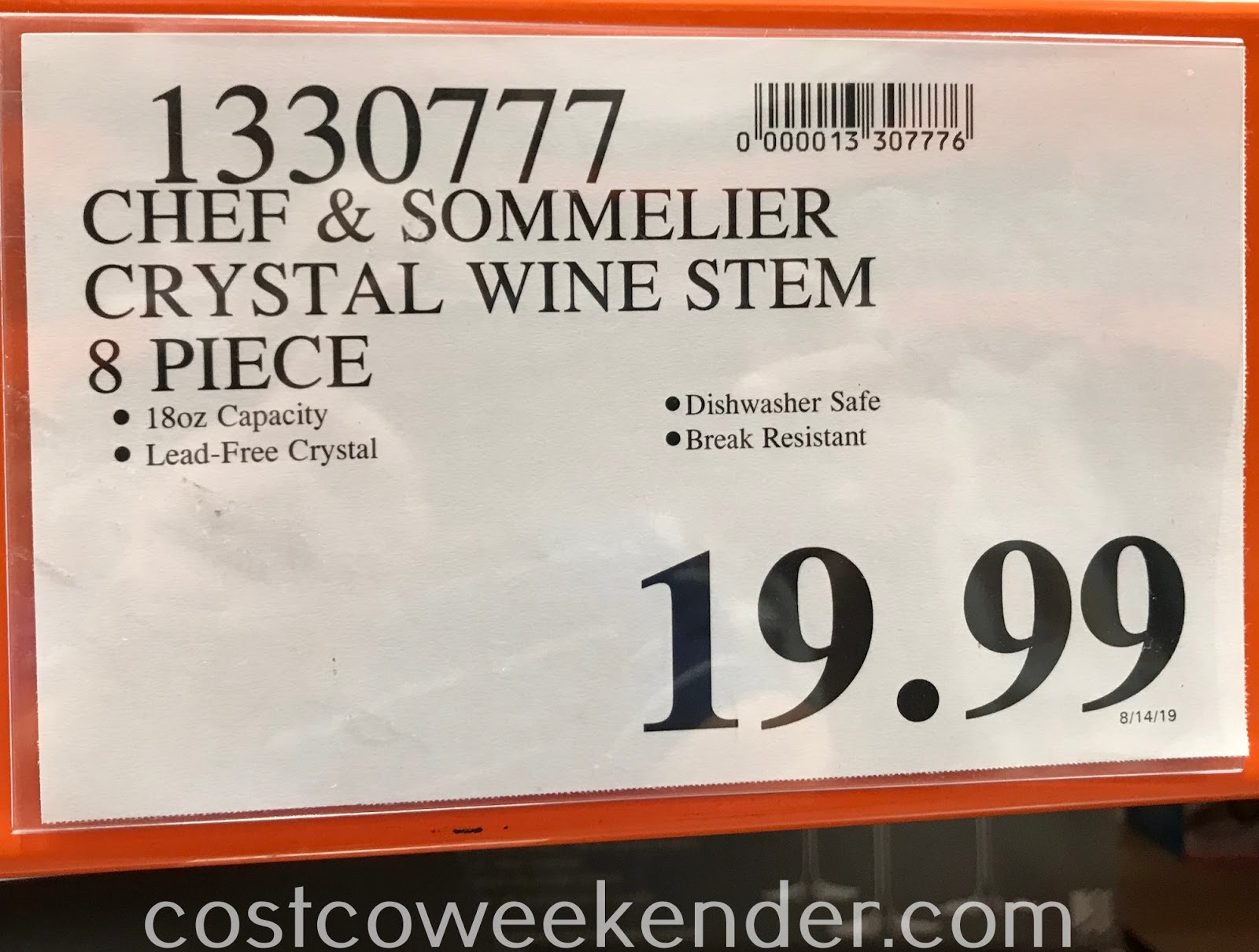 Deal for an 8-piece stemwware Chef & Sommelier Crystal Wine Glasses at Costco