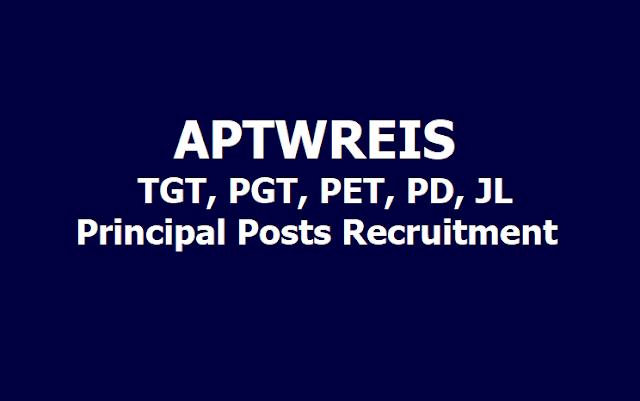 APTWREIS TGT, PGT, PET, JL, Principal Posts Recruitment 2019