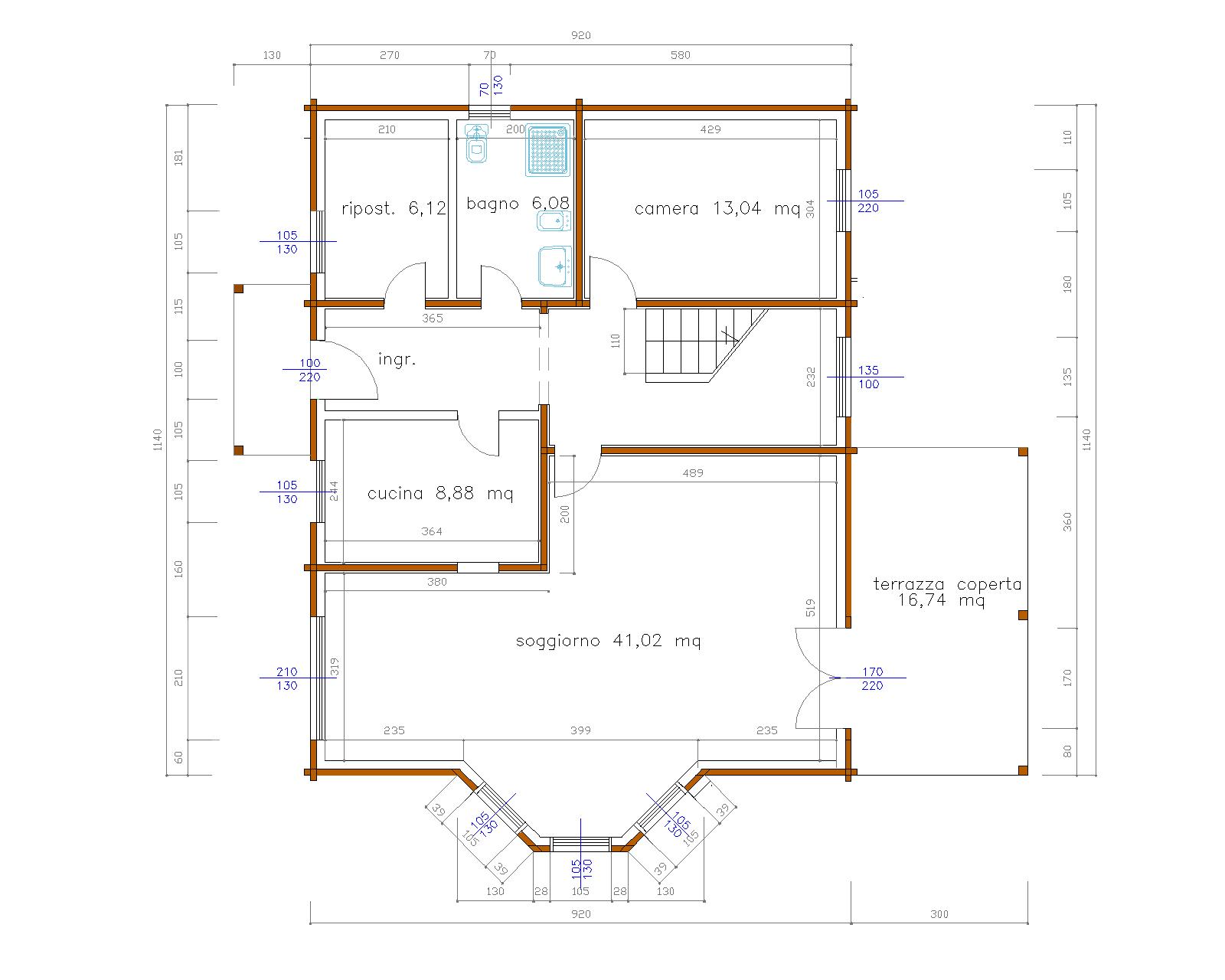 Progetti di case in legno casa 214 mq terrazza coperta for Progetto casa 40 mq