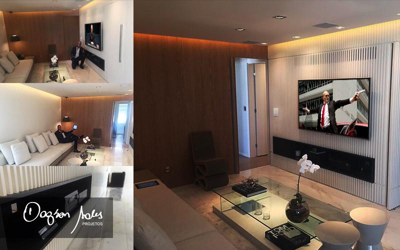 Dagson Sales assina projeto de sala de home cinema com caixas embutidas no teto | Dagson Sales Projetos