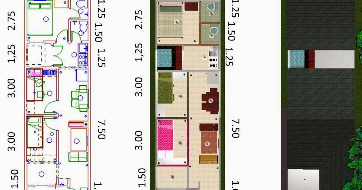 Contoh Denah Rumah Lebar 4 Meter  rumah minimalis cat hitam putih terbaru denah rumah lebar