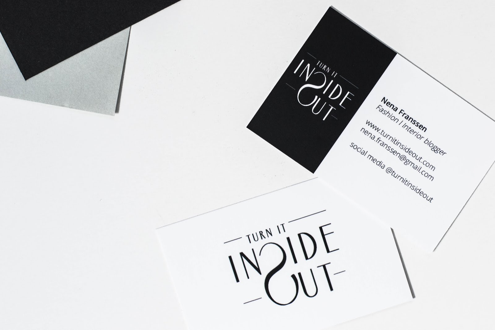 Moo, business cards, minimal, interior blogger, fashion blogger, black and white, logo design, flat lay