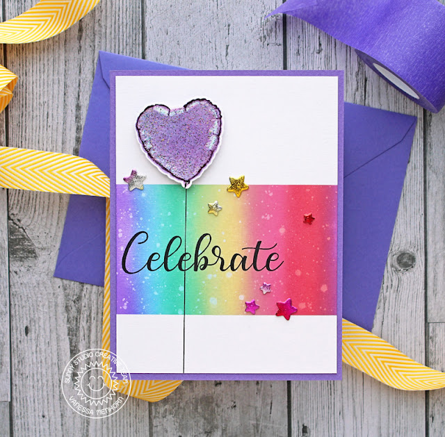 Sunny Studio Stamps: Bold Ballons Everything's Rosy Basic Mini Shapes Congrats Card Celebrate Card Vanessa Menhorn Anja Bytyqi