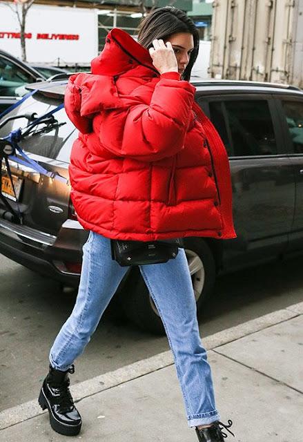 puffer coat red
