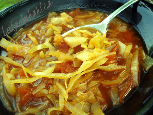 Croatian cabbage soup. This soup, very popular in the North-western Croatia, is usually prepared in summer.