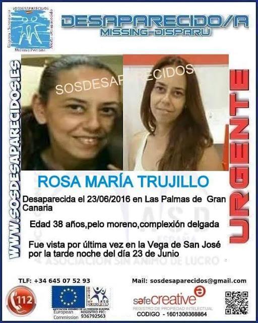 mujer desaparecida  Vega San José Las Palmas, Rosa María Trujillo