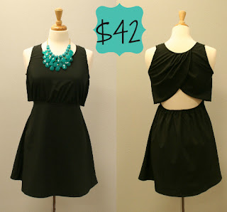 A Business in the Front, Party in the Back black dress by A Cut Above, pictured from both front and back, modeled on a mannequin.
