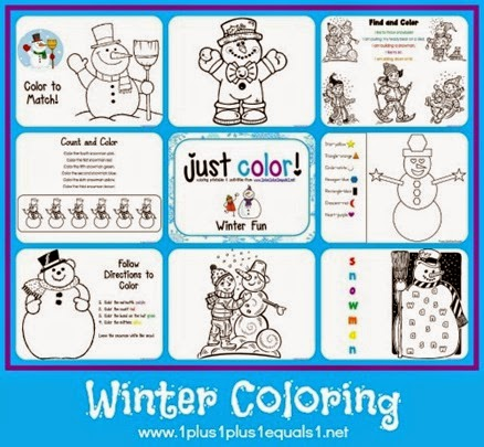 Winter Coloring Pages from 1+1+1=1