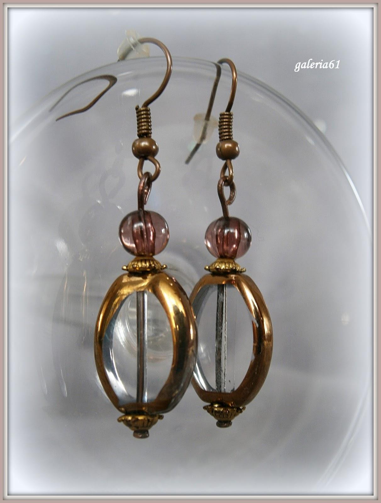 bransoletka i kolczyki - brązowy, złoty, miedziany