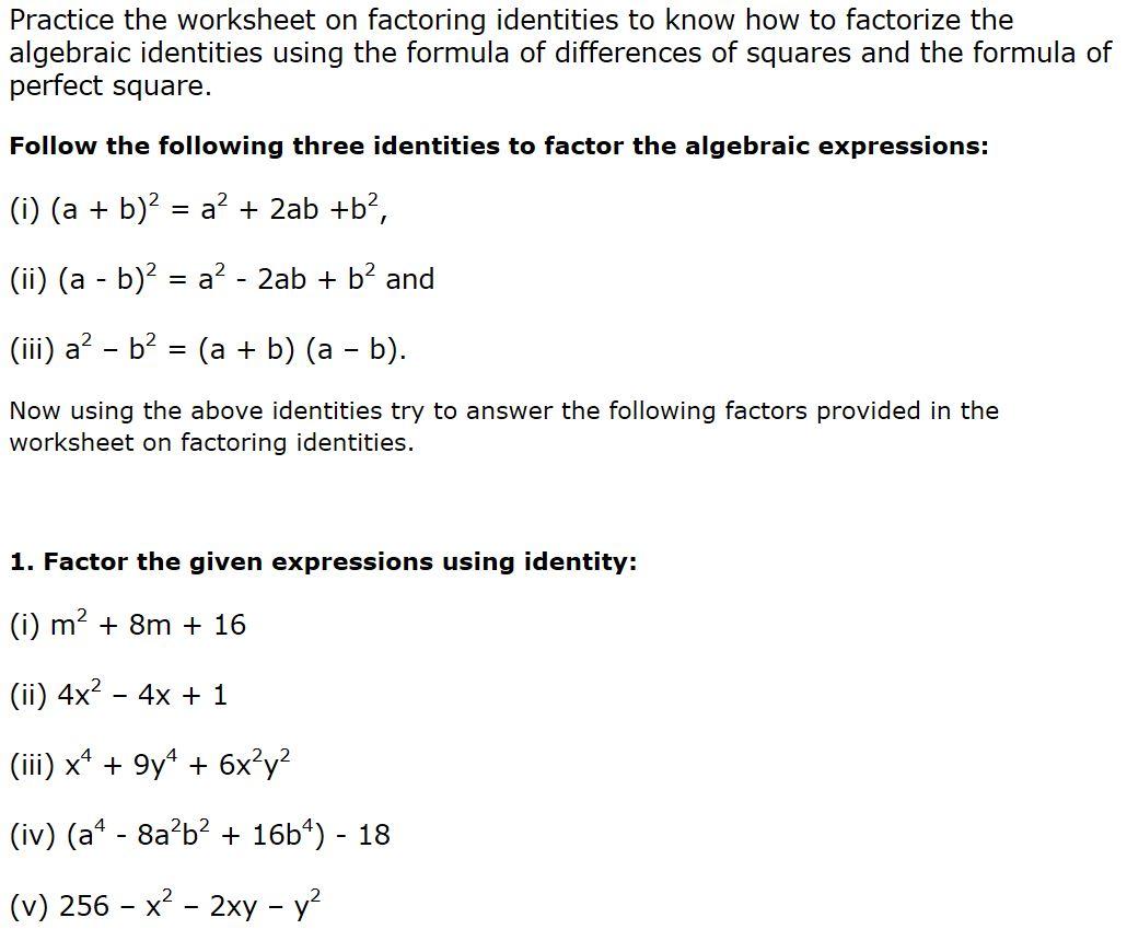 Dcmc Math Class 8 Practice Worksheet On Factorisation For Class 8