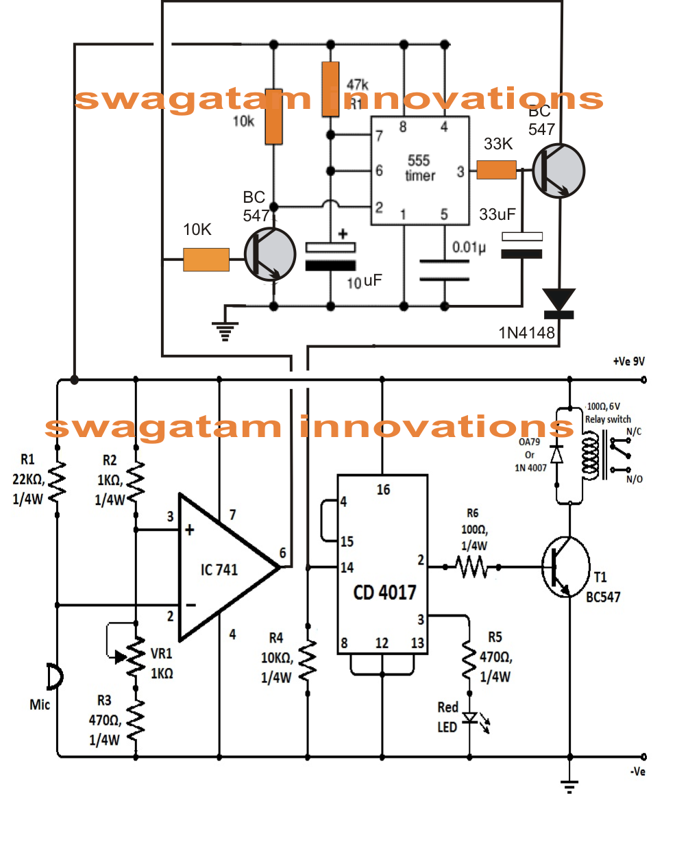 4 Simple Clap Switch Circuits Using Transistors Opamp And Ic 555 12v Relay Wiring Diagram Together With Circuit Turning On Off Double Sound